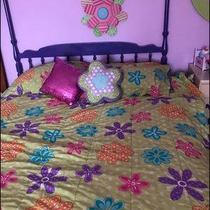 ❤ I LOVE PARIS ❤ Lilac Purple 8 pcs Reverse King Queen Comforter Sheets Set New